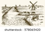 dutch windmill  romantic... | Shutterstock .eps vector #578065420