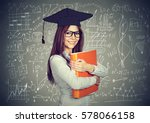 happy smart girl student with... | Shutterstock . vector #578066158