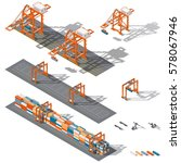 sea container terminal. ship to ... | Shutterstock .eps vector #578067946