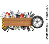 vector board with wheel and car ... | Shutterstock .eps vector #578068873