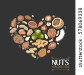 the isolated heart of nuts and... | Shutterstock .eps vector #578069338
