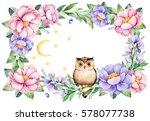 beautiful watercolor frame... | Shutterstock . vector #578077738