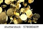 falling gold coins. 3d render...   Shutterstock . vector #578080609