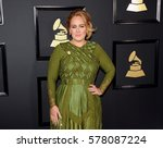 adele at the 59th grammy awards ... | Shutterstock . vector #578087224