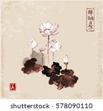 lotus flowers hand drawn with... | Shutterstock .eps vector #578090110