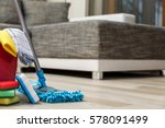 cleaning service. bucket with... | Shutterstock . vector #578091499