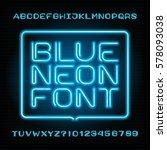 neon tube alphabet font. type... | Shutterstock .eps vector #578093038