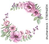 wreath with watercolor light... | Shutterstock . vector #578096854