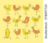 cartoon birds pattern. | Shutterstock .eps vector #578097724