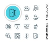 illustration of 12 data icons.... | Shutterstock . vector #578100640