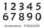 grunge numbers set.vector... | Shutterstock .eps vector #578102290