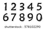 grunge numbers set.vector... | Shutterstock .eps vector #578102290
