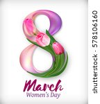 women's day design with pink... | Shutterstock .eps vector #578106160