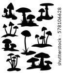 Nine Mushroom Silhouettes