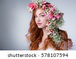 young woman with red hair... | Shutterstock . vector #578107594