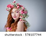 young woman with red hair... | Shutterstock . vector #578107744