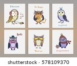 set of cute vector cards with... | Shutterstock .eps vector #578109370