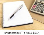 blank white notebook with pen... | Shutterstock . vector #578111614