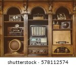 sepia toned image of old radio... | Shutterstock . vector #578112574