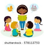 black teacher reading a book to ... | Shutterstock . vector #578113753