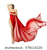 woman sexy body in red flying... | Shutterstock . vector #578115220