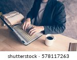 businessman a computer laptop... | Shutterstock . vector #578117263