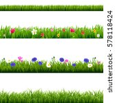 big set green grass and spring... | Shutterstock .eps vector #578118424