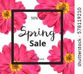 spring banner with pink flowers ... | Shutterstock .eps vector #578119210