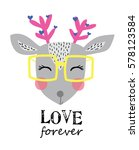 cute deer | Shutterstock .eps vector #578123584