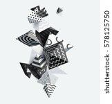 3d decorative pyramids.... | Shutterstock .eps vector #578125750