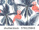 pink flamingos  exotic birds ... | Shutterstock .eps vector #578125843