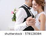 Cute Wedding Couple Dancing At...