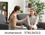 young female psychologist... | Shutterstock . vector #578136313