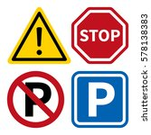 attention  stop  no parking and ... | Shutterstock .eps vector #578138383