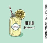 lemonade in hipster jar with... | Shutterstock .eps vector #578140408
