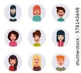 avatars. different human faces. ... | Shutterstock .eps vector #578143648