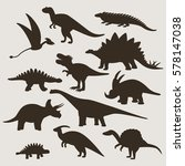 large set of silhouettes of... | Shutterstock .eps vector #578147038
