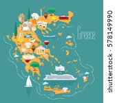 map of greece with islands ... | Shutterstock .eps vector #578149990