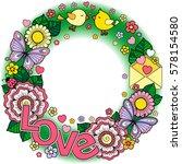 rounder frame made of flowers ... | Shutterstock . vector #578154580