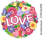 greeting card for lovers ... | Shutterstock . vector #578156398