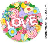 greeting card for lovers ... | Shutterstock . vector #578156674