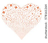 airplane fireworks with heart... | Shutterstock .eps vector #578161264