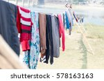 drying clothes on sun outside... | Shutterstock . vector #578163163