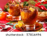 traditional christmas eve`s compote of dried fruits and spices - stock photo