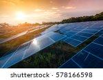 beautiful sunset over solar farm