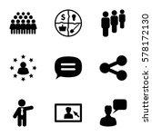 social icon. set of 9 social... | Shutterstock .eps vector #578172130