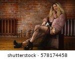 rock star playing guitar on... | Shutterstock . vector #578174458