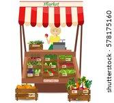 female worker of grocery store... | Shutterstock .eps vector #578175160