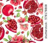pomegranate fruit and flowers... | Shutterstock .eps vector #578178808