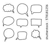 flat black speech bubbles. hand ... | Shutterstock .eps vector #578181256